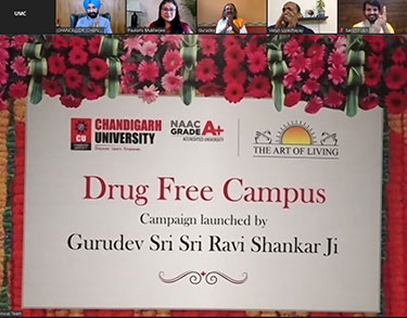"Sri Sri Ravi Shankar launches National Campaign on ""Drug Free Campus"" from Chandigarh University"
